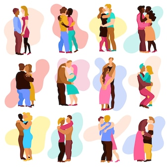 Abraços de amor com símbolos de relações de homem e mulher isolados.