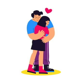 Abraços do jovem casal romântico.