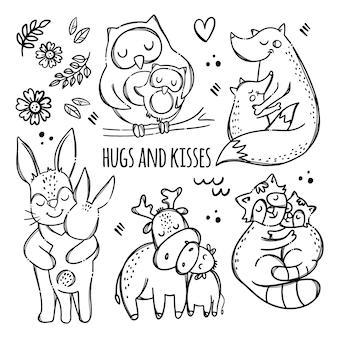 Abraços e beijos. animais fofos, abraçando seus filhos. conjunto de ilustrações monocromáticas de clipart desenhada à mão para relacionamento com os pais