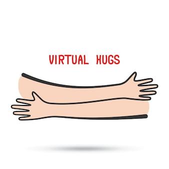 Abraços virtuais ilustração abstrata simples