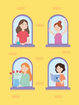Abriga janelas com mulheres felizes