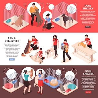 Abrigo de animais para cães e gatos e trabalho de voluntários banners isométricos horizontais ilustração vetorial isolado