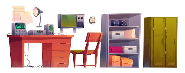 Abrigo de bomba dos desenhos animados de equipamento de sala de controle de depósito