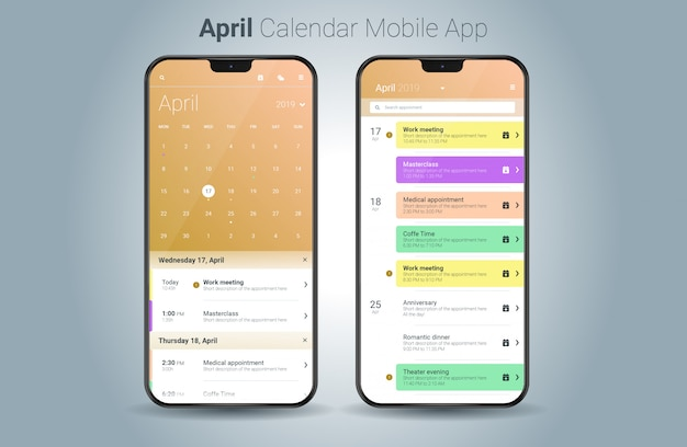 Abril calendário aplicativo móvel luz ui vector