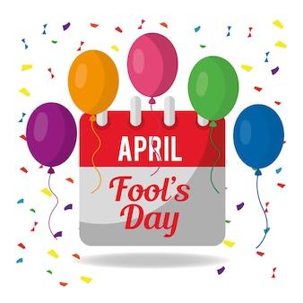 Abril, dia dos tolos, festivo, celebração, calendário, balões, confeti