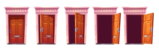 Abrindo a porta da frente de madeira com moldura de pedra isolada no fundo branco. cartoon conjunto de entrada de casa, marrom fechado, entreaberto e portas abertas. ilustração para animação sprite ou jogo 2d
