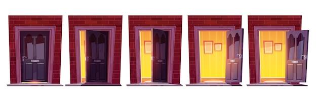 Abrindo a porta da frente de madeira em uma parede de tijolos isolada no fundo branco
