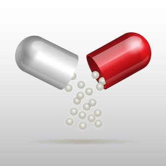 Abrindo cápsula médica vermelha