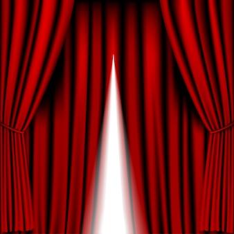 Abrindo cortina vermelha para o fundo