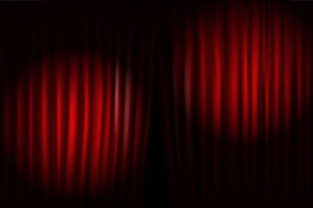 Abrindo cortinas de palco com projetores luminosos. ilustração vetorial. modelo de show standup