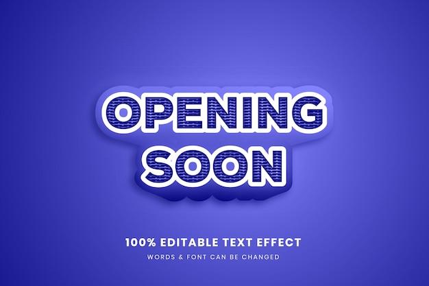 Abrindo em breve efeito de texto editável completo