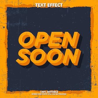 Abrindo em breve efeito de texto editável