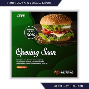 Abrindo em breve menu de comida para mídias sociais instagram post banner template