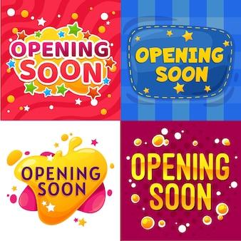 Abrindo logo banners de desenhos animados. crianças armazenam ou compram cartazes engraçados de vetor de anúncio de inauguração, adesivos em quadrinhos de promoção de evento ou lançamento de site com estrelas, bolhas coloridas e costura