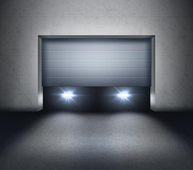 Abrindo veneziana e faróis de carro dentro da garagem e luz no asfalto