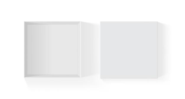 Abrir caixa de papel branco isolada