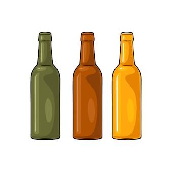 Abrir garrafas de cerveja com vidro verde, amarelo e marrom