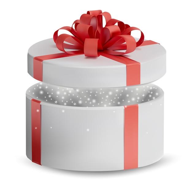 Abriu a caixa de presente branca em uma fita vermelha e um arco na parte superior. férias, caixa redonda de presente com brilhos dentro. ilustração.