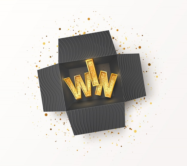 Abriu a caixa de presente preta texturizada com palavra de vitória dourada dentro. participar e ganhar prêmios