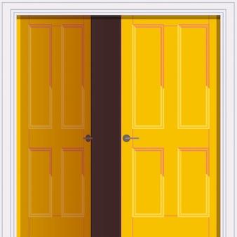 Abriu a porta amarela liberdade conceito de abertura Vetor Premium