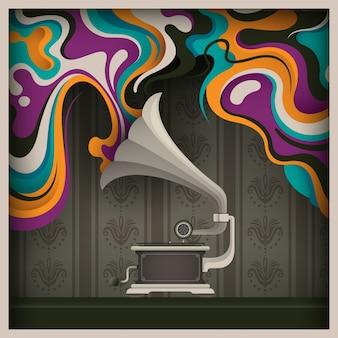 Abstração do vintage com fonógrafo