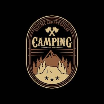 Abstrack camping, explorar, modelo de design de logotipo vintage de montanha de aventura