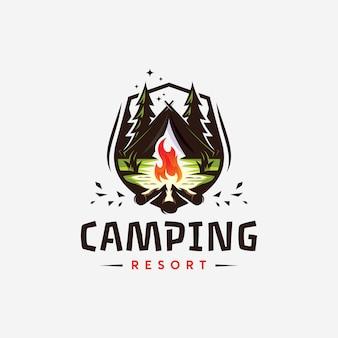 Abstrack canping resort logo design ilustração de templat