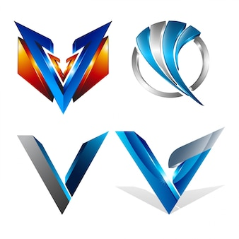 Abstract 3d various geometrical letter v shapes