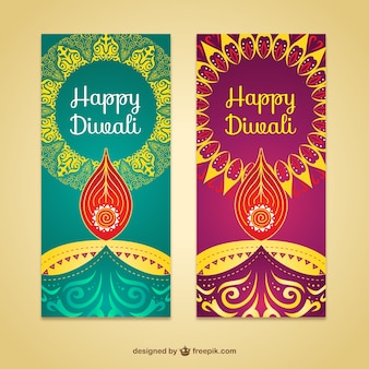 Abstract banners pacote de diwali