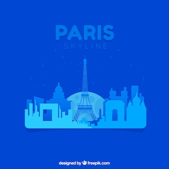 Abstract blue skyline of paris