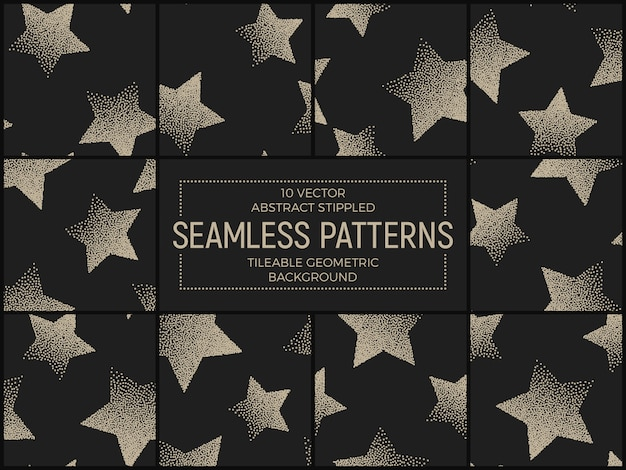 Abstract handmade stippled seamless patterns set vector