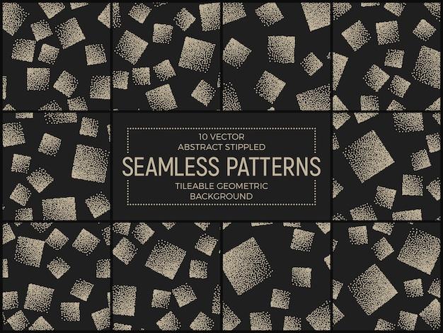 Abstract handmade stippled seamless patterns set vector