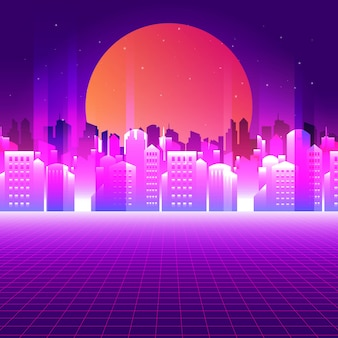 Abstract neon city background