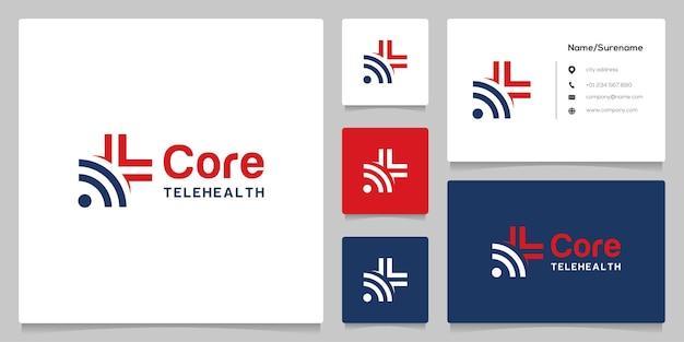 Abstract plus cross medical e design de logotipo sem fio wi-fi com cartão de visita