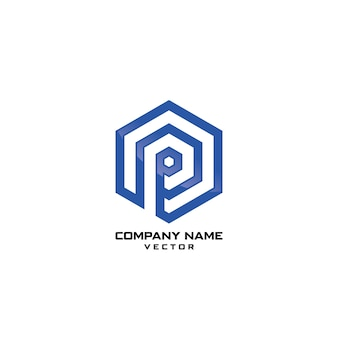 Abstract polygon p letter logo template vector