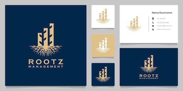 Abstract root leaf financial bar logo design