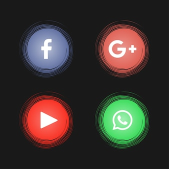 Abstract social media icons on black background
