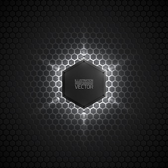 Abstract vector 3d fundo cinza escuro hexagonal