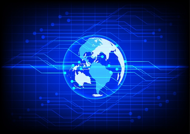 Abstract world digital technology electronic blue background