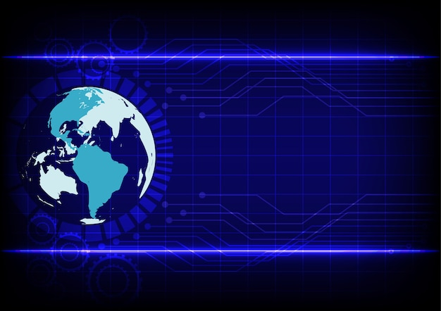 Abstract world technology linha eletrônica fundo azul