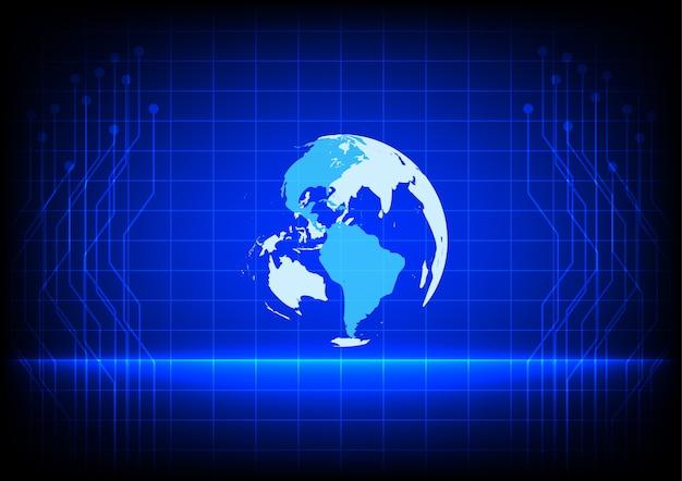 Abstract world tecnologia digital linha eletrônica fundo azul