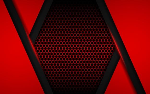 Abstrata luz vermelha com fundo do hexágono