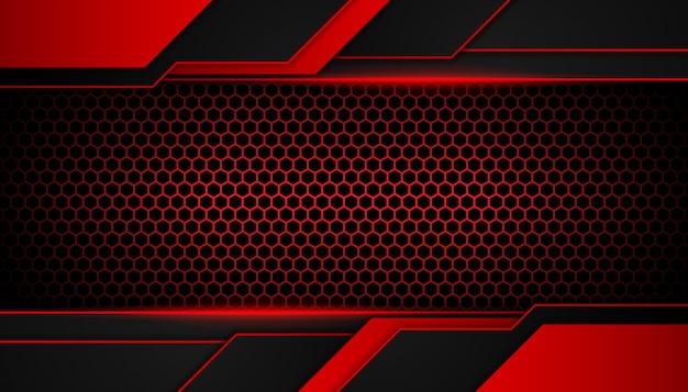 Abstrata luz vermelha em fundo escuro do hexágono