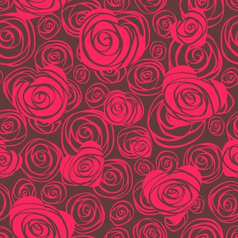 Abstrata sem costura padrão com corações e rosas
