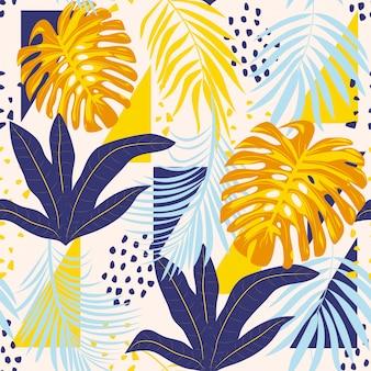 Abstrata sem costura padrão com folhas e plantas tropicais coloridas