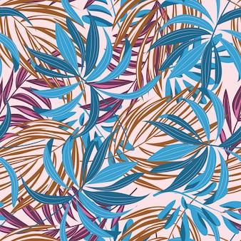 Abstrata sem costura padrão com folhas tropicais coloridas e plantas em branco