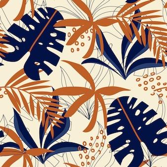 Abstrata sem costura padrão com folhas tropicais coloridas e plantas em fundo pastel Vetor Premium