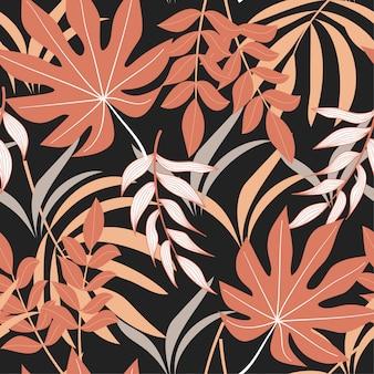Abstrata sem costura padrão com folhas tropicais