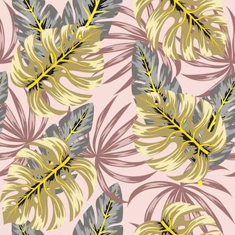 Abstrata sem costura padrão com plantas tropicais e folhas
