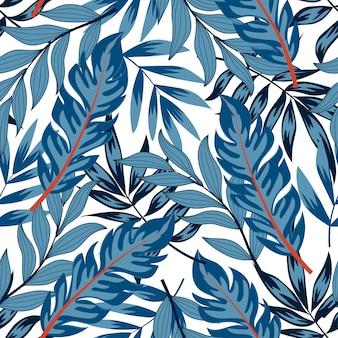 Abstrata sem costura padrão com plantas tropicais